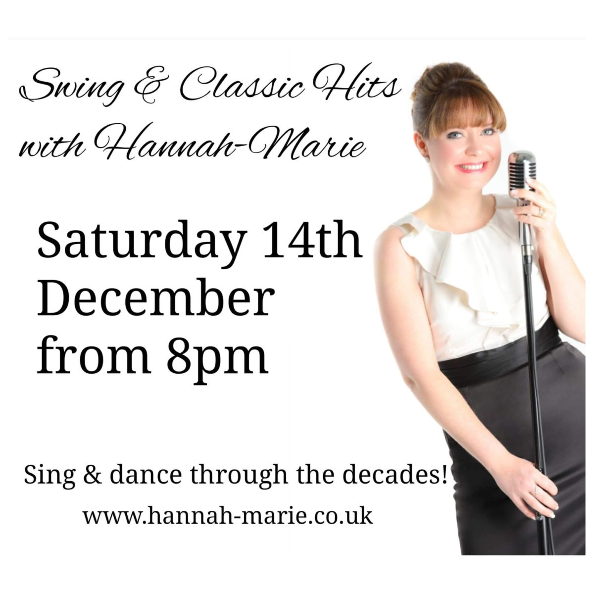 Sat 14th Dec – Swing & Classic Hits with Hannah Marie