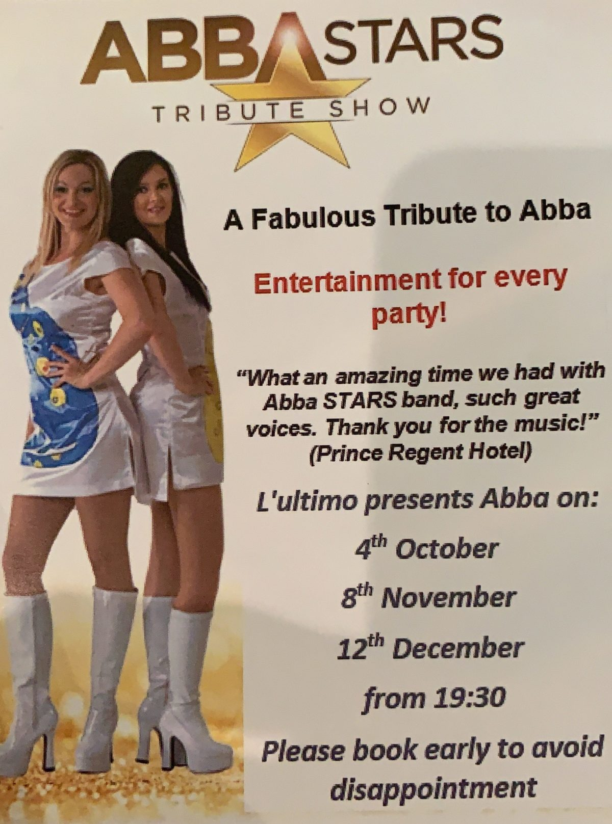 Thu 12th Dec – A fabulous tribute to Abba